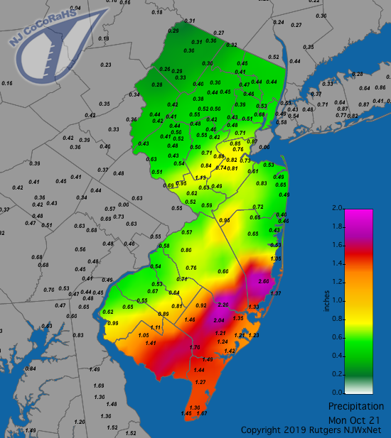 Precipitation map for October 21st