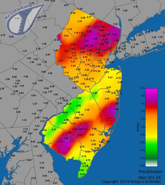 Precipitation map for October 28th