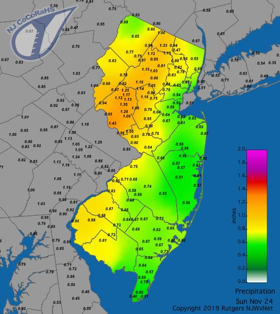 Precipitation map for November 24th