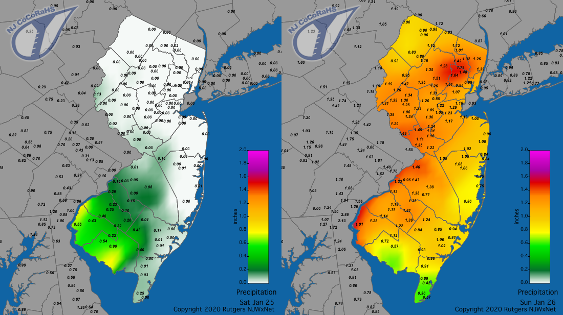 Precipitation map for January 25th on left and January 26th on right