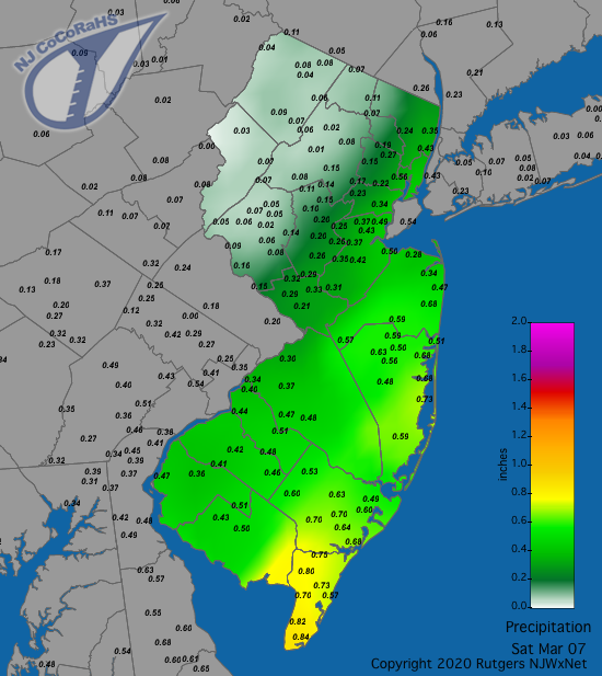 Precipitation map for March 7th