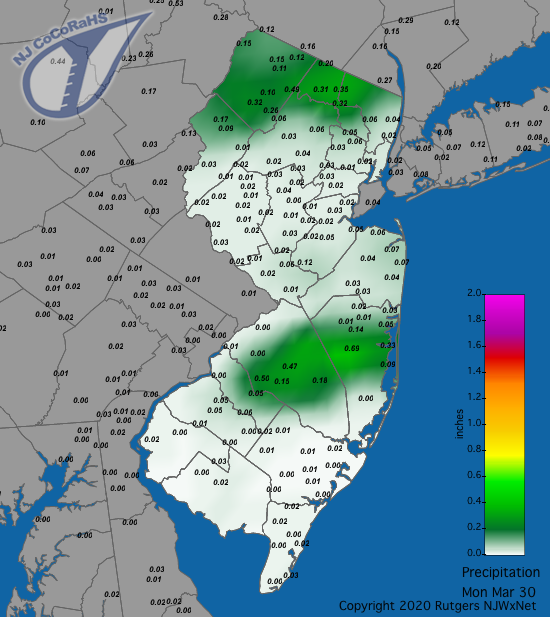 Precipitation map for March 30th
