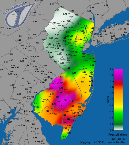 Precipitation map for July 7th