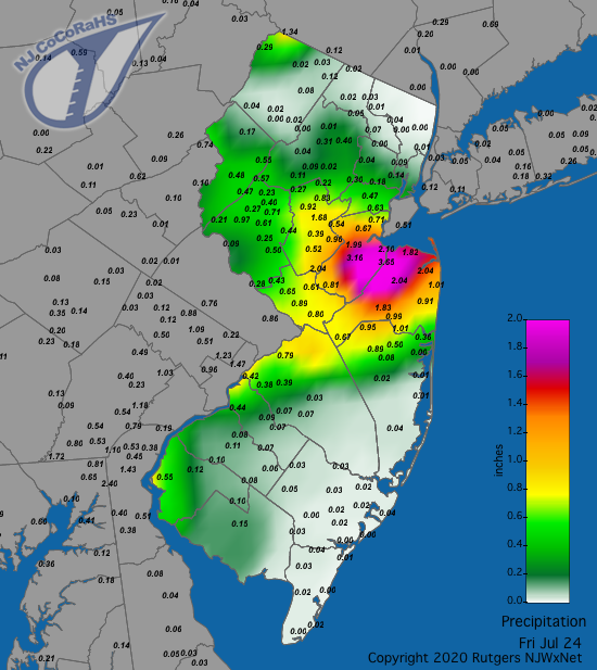 Precipitation map for July 24th