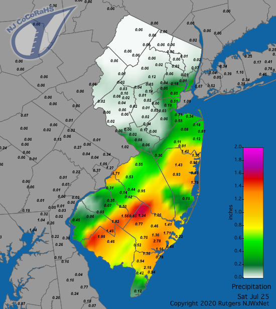 Precipitation map for July 25th