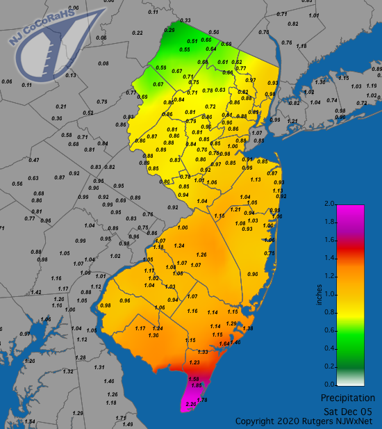 CoCoRaHS precipitation map for the 24 hours ending on the morning of December 5th