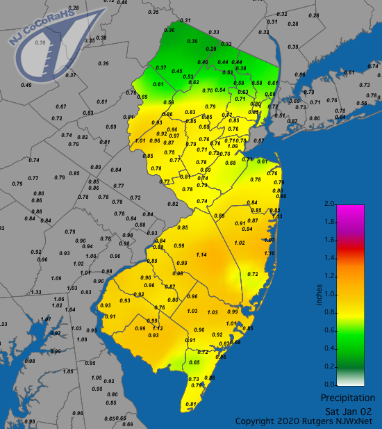CoCoRaHS precipitation map for the 24 hours ending on the morning of January 2nd