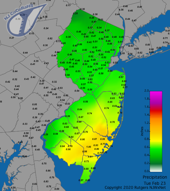 CoCoRaHS precipitation map for the 24 hours ending on the morning of February 23rd
