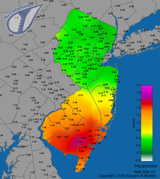 CoCoRaHS precipitation map for the 24 hours ending on the morning of March 1st