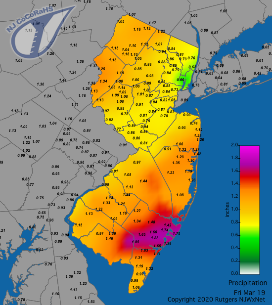 CoCoRaHS precipitation map for the 24 hours ending on the morning of March 19th