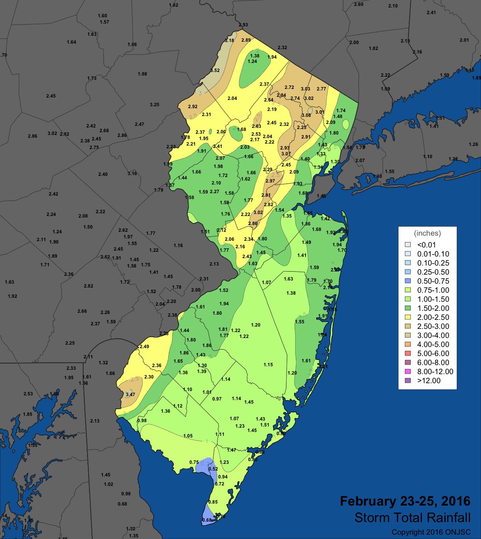 February 23-25 rain map