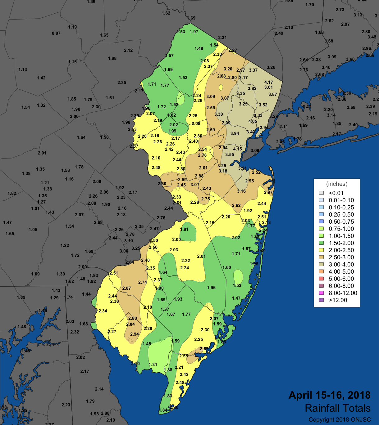Rainfall map from April 15th-16th