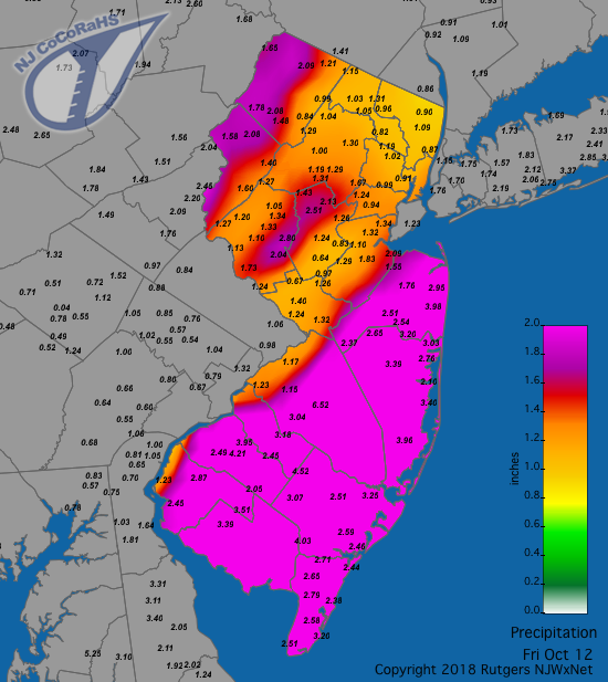 Rainfall map for October 12th