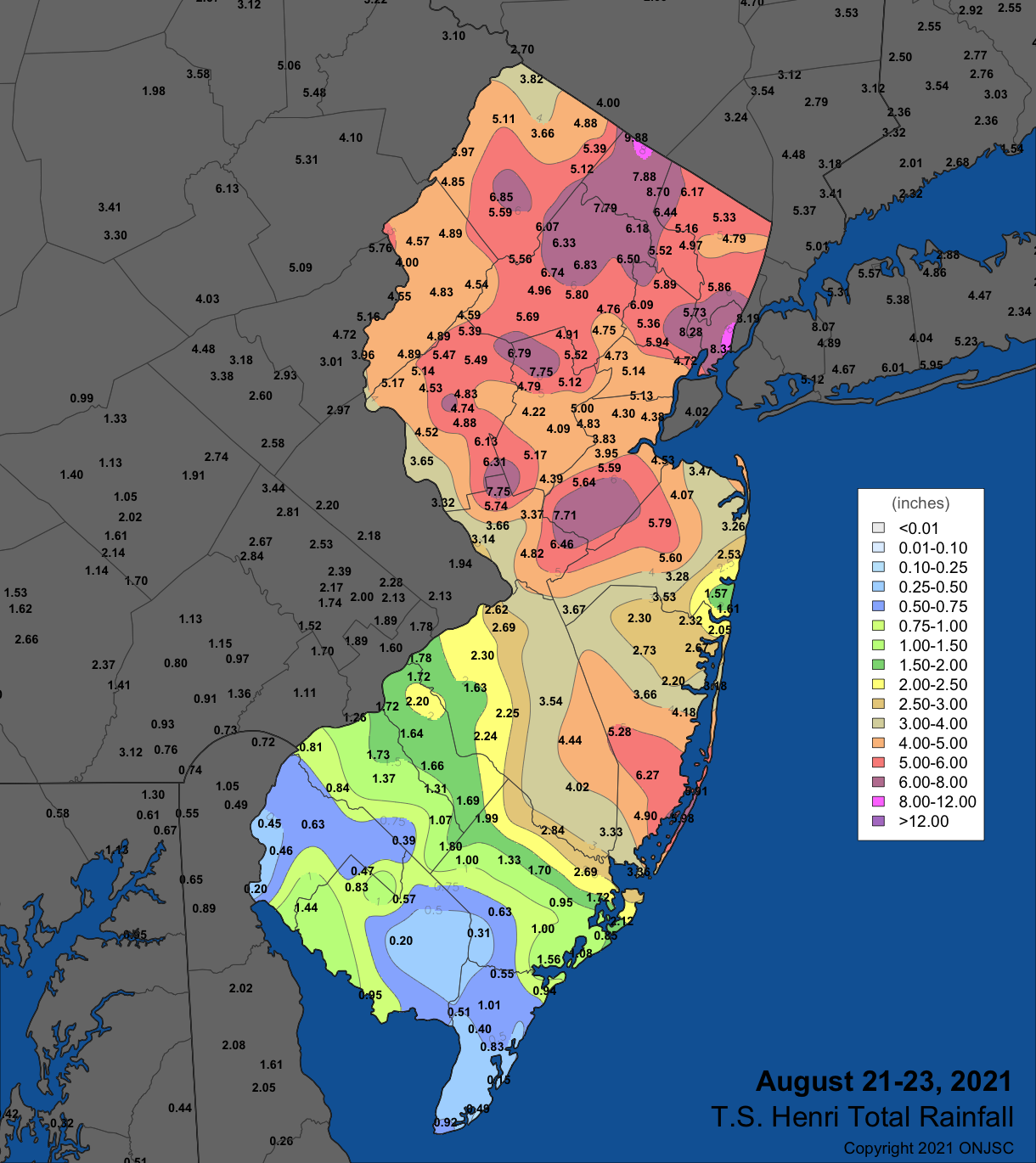 Rainfall from August 21st to 23rd based on an ONJSC analysis generated using observations from NWS Cooperative, CoCoRaHS, NJWxNet, and a few other smaller networks