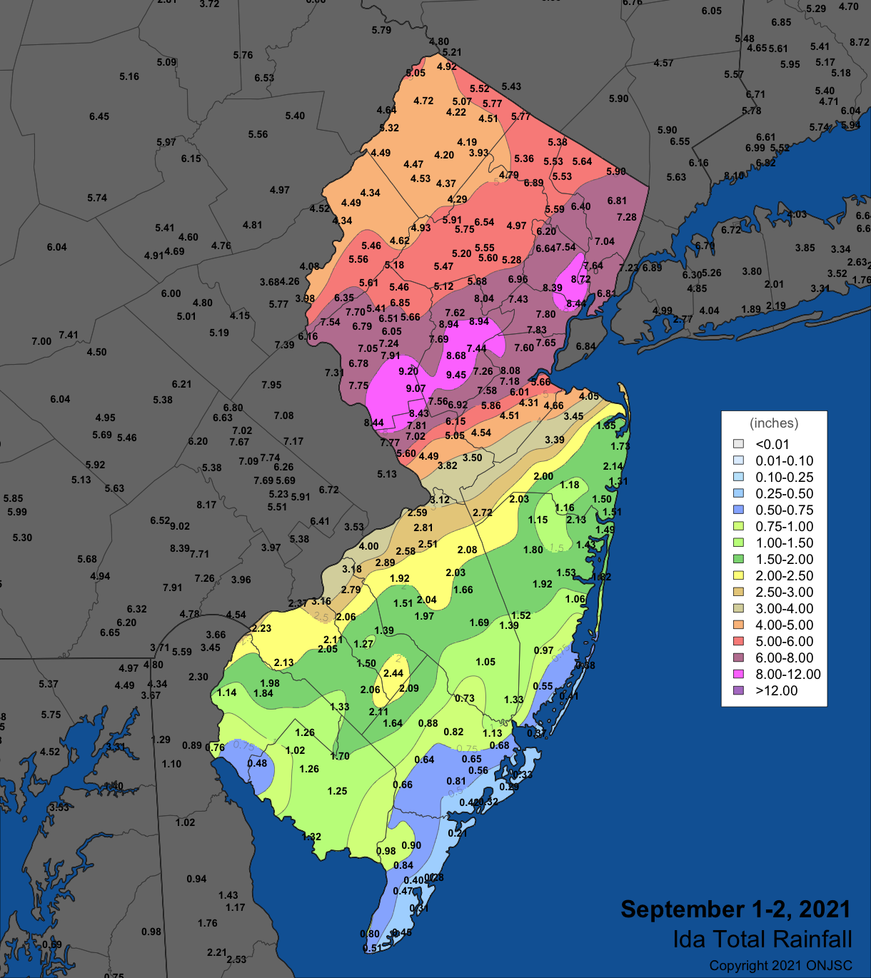 September 1st–2nd rainfall in NJ and surrounding states based on observations from Rutgers NJ Weather Network, NJ CoCoRaHS, National Weather Service Cooperative stations, and observations from several other networks. Around 370 NJ observations were used to generate the map. Not all observations that went into the colored contouring in NJ are shown to avoid overlapping values.