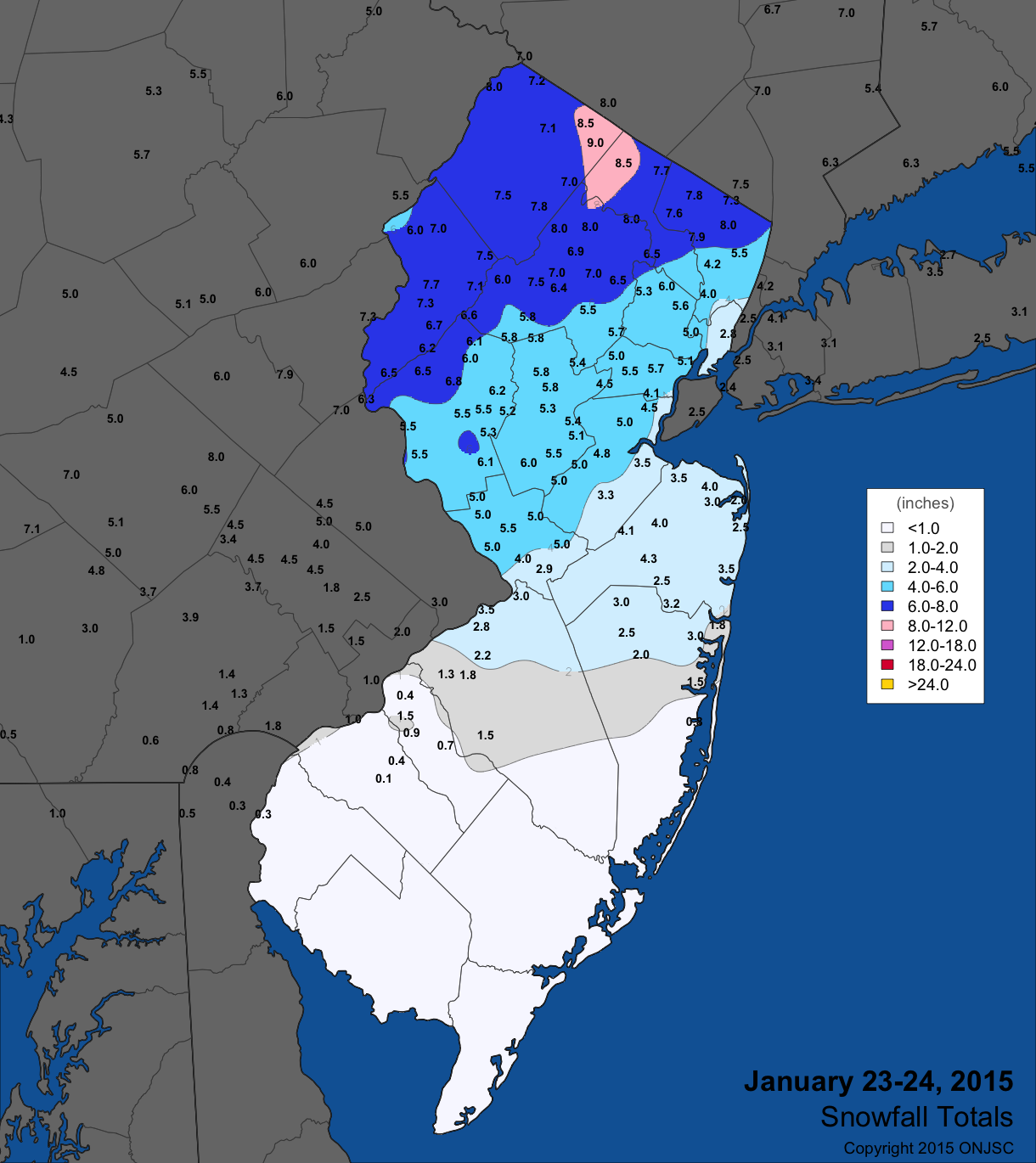 Jan 23-24 snow map