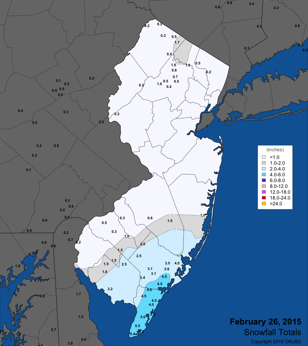 Feb 26 snow map