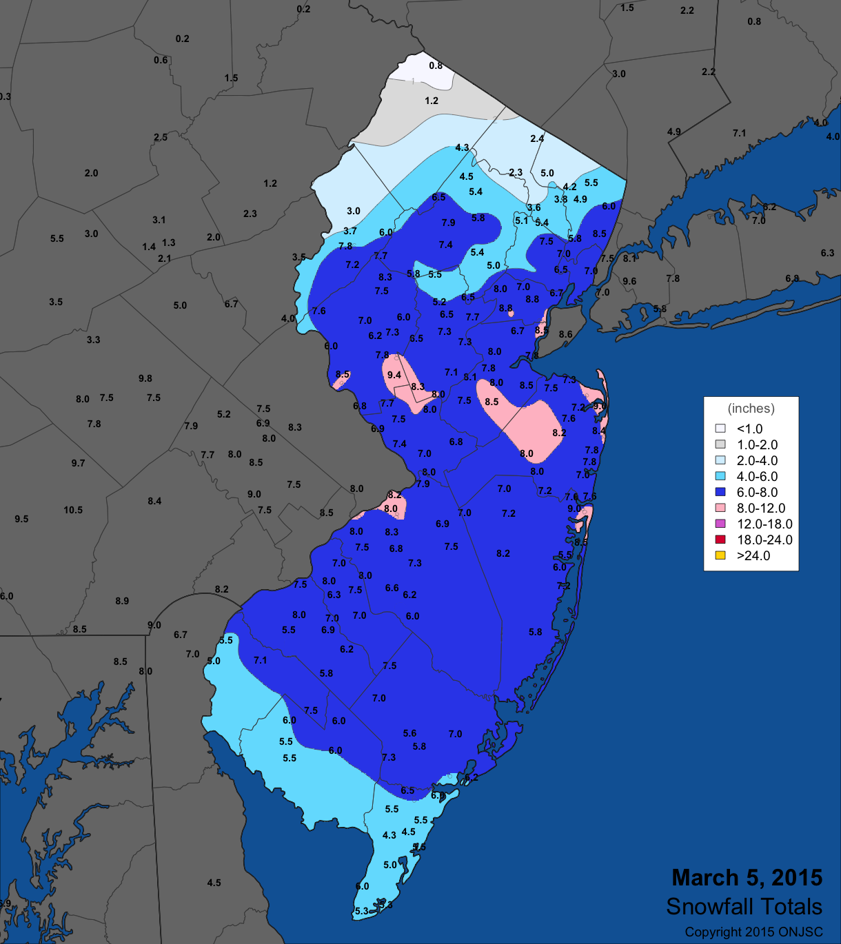 March 5 snow map