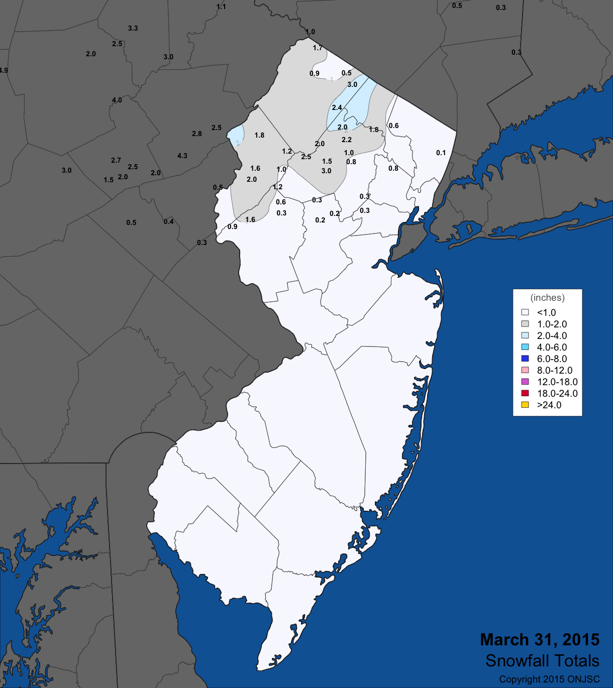 March 31 snow map