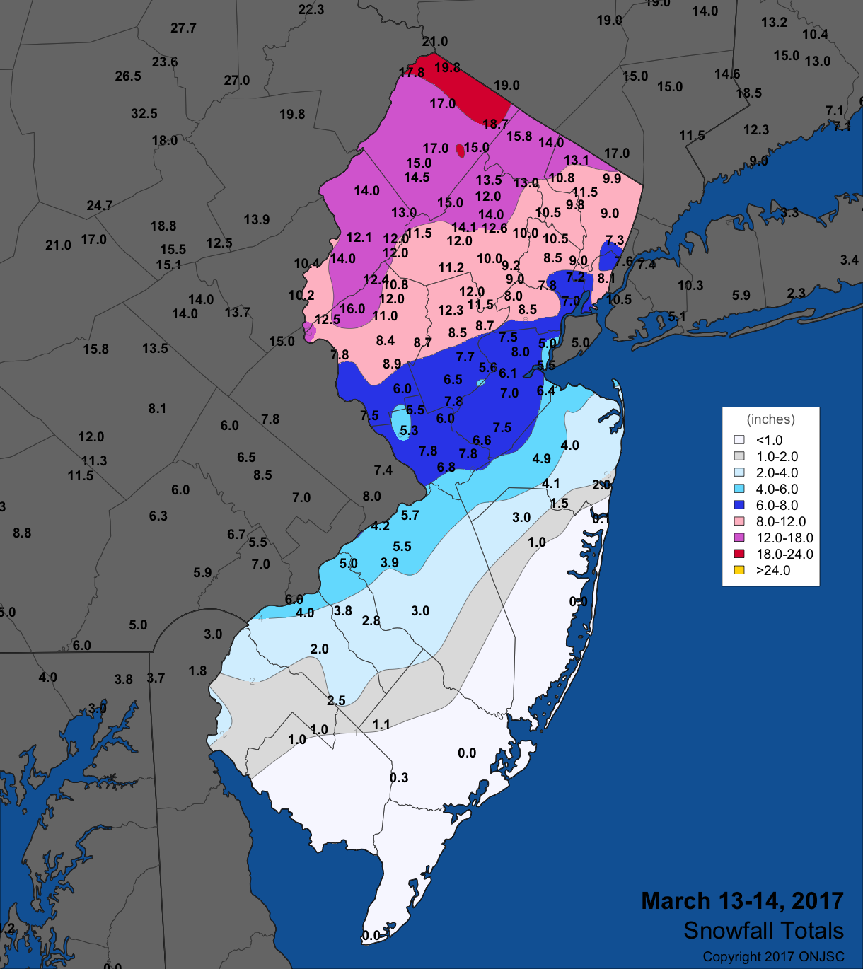 March 13-14 snowfall map