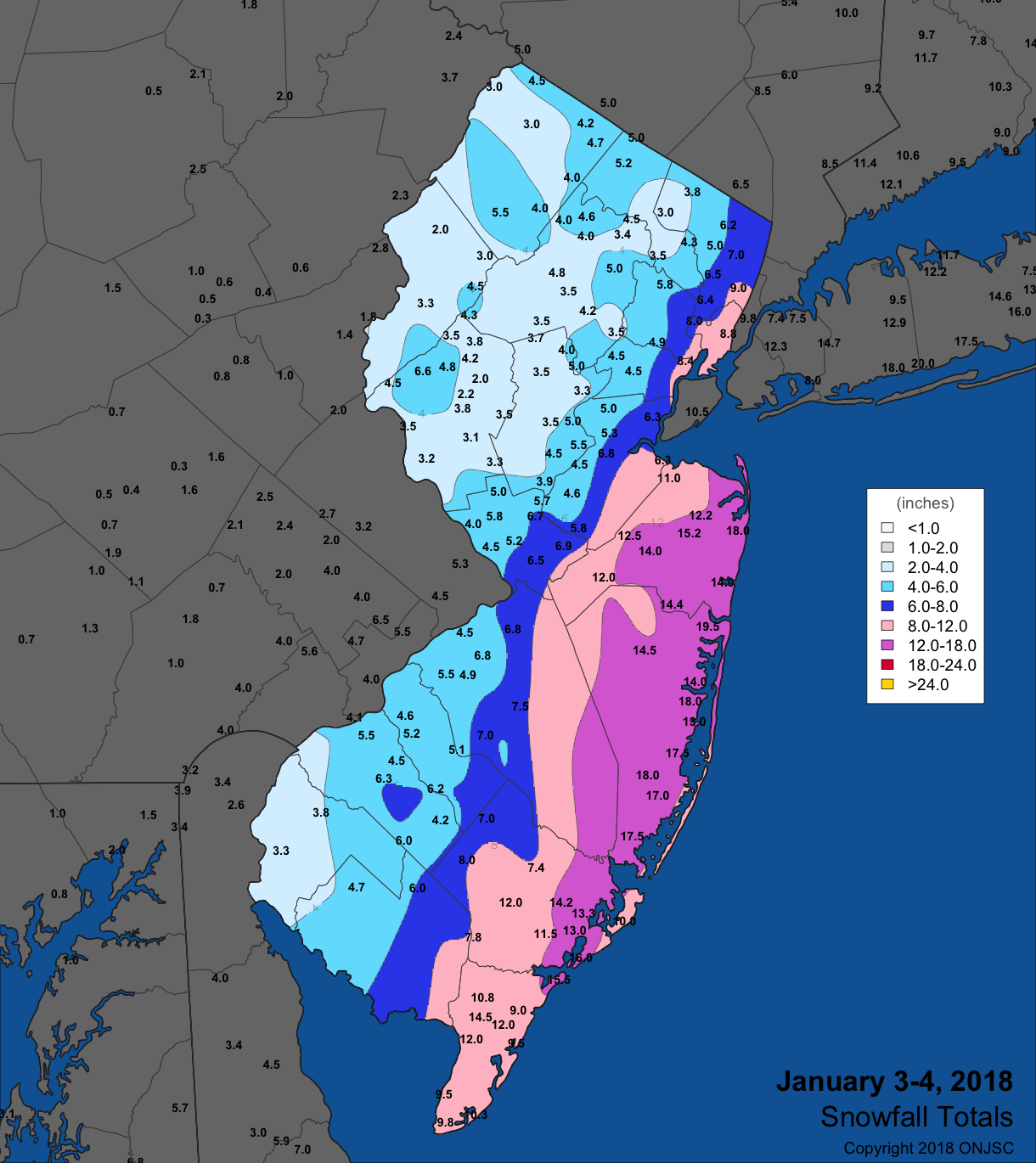 Snowfall map  from January 3rd–4th