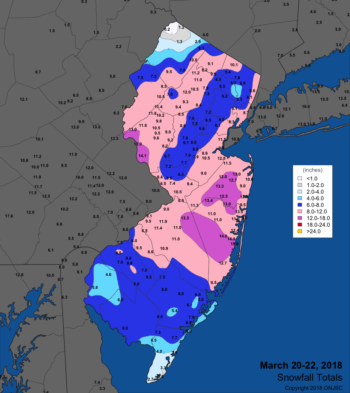 Snowfall map from March 20th-22nd