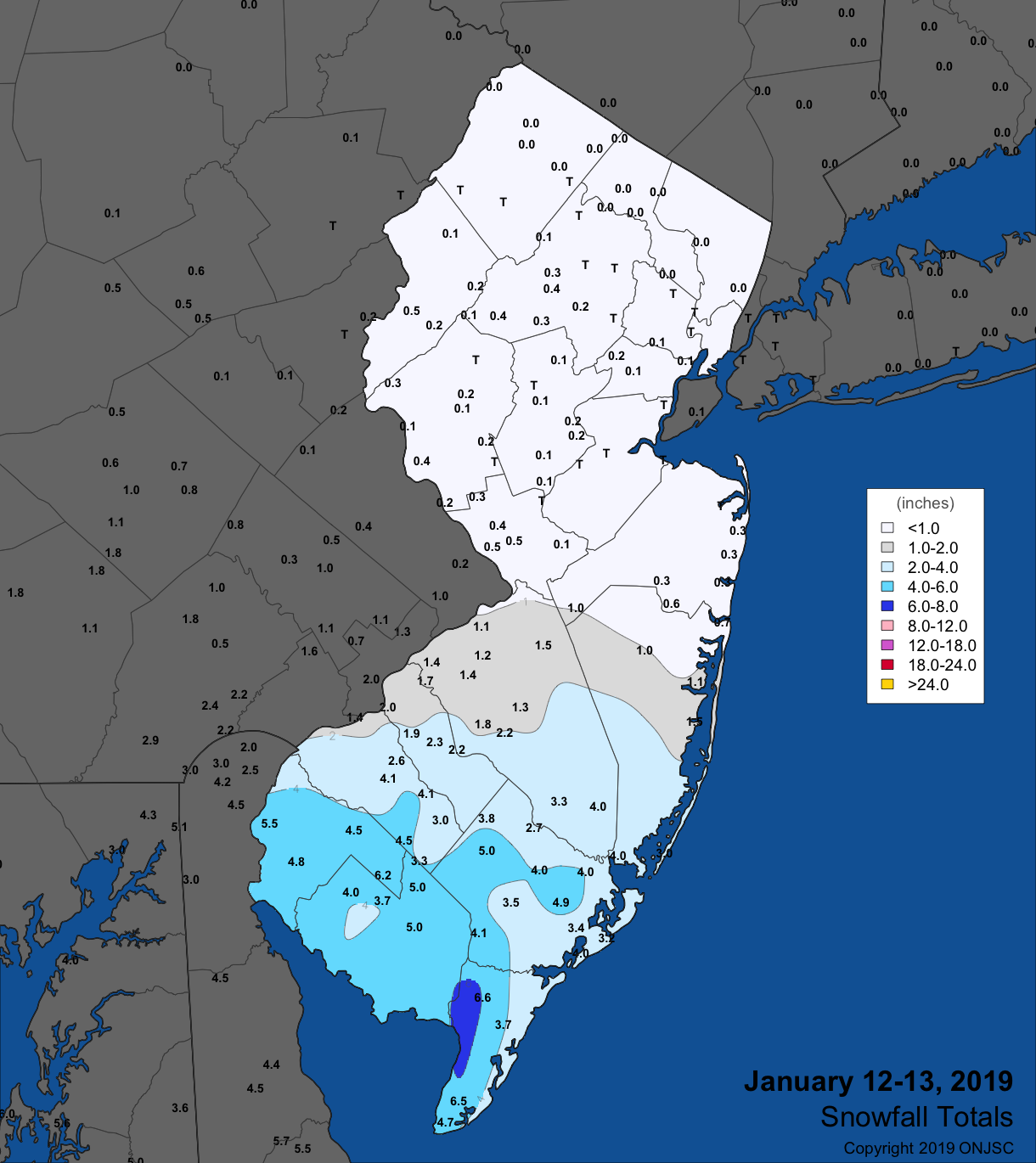 Snowfall map for January 12th-13th