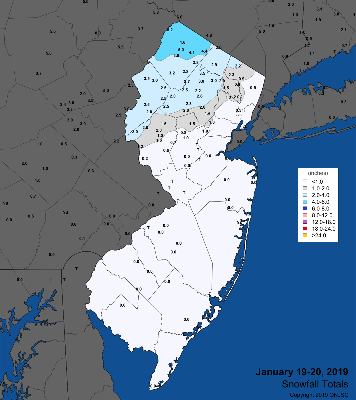 Snowfall map for January 19th-20th