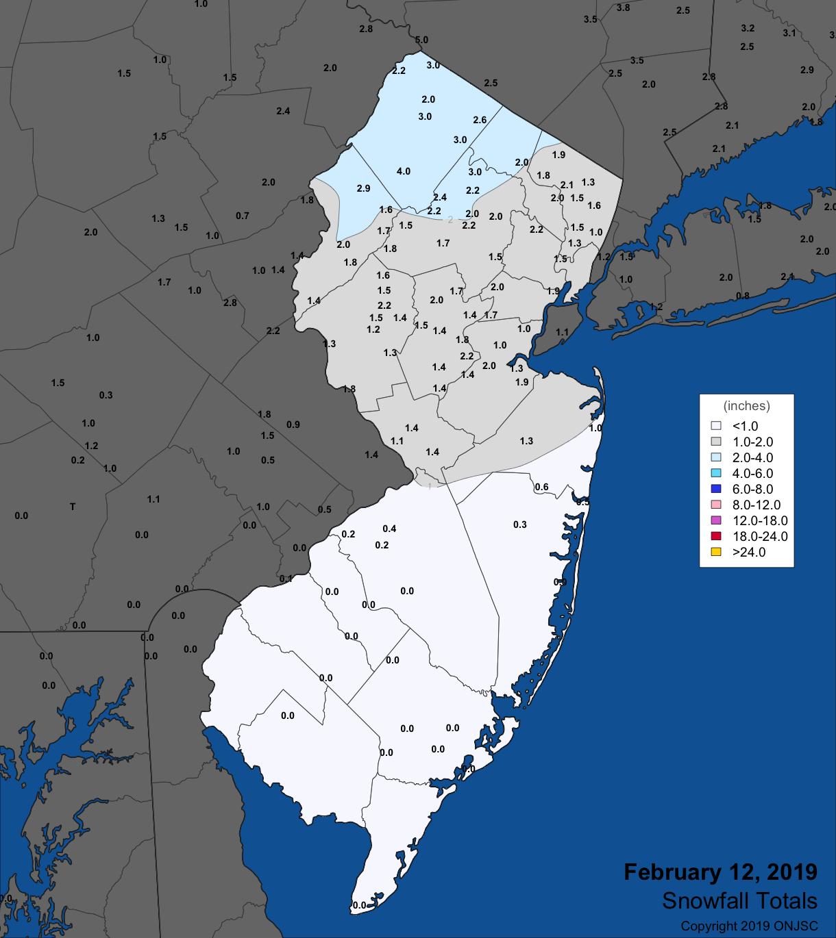 Snowfall map for February 12th