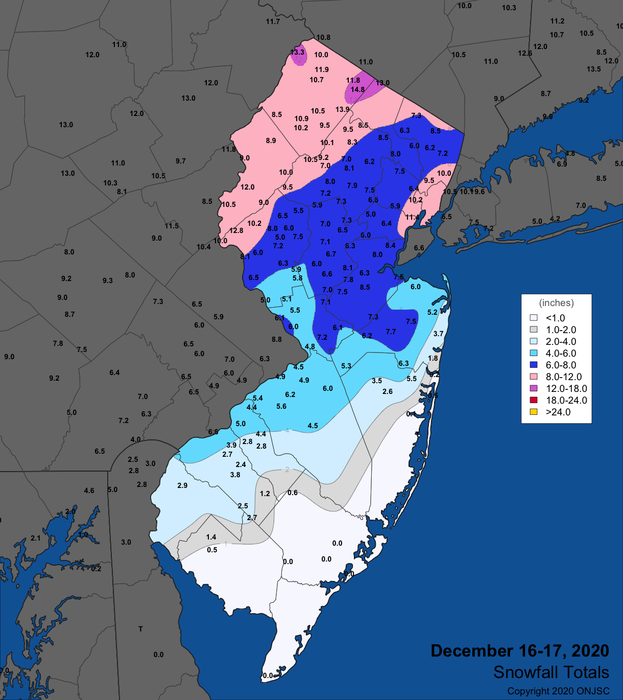 Snowfall map from December 16th-17th winter storm