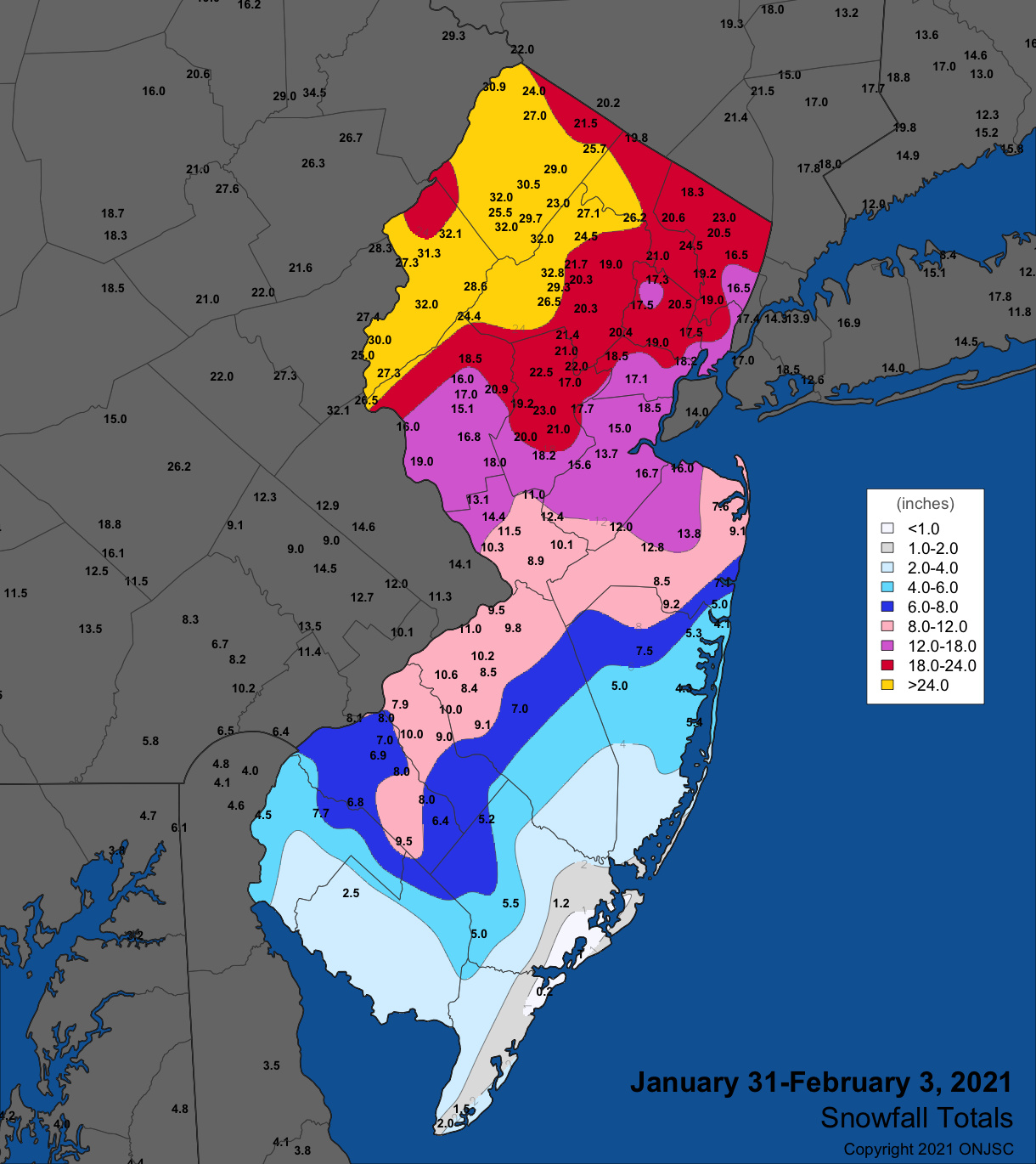 Snowfall map from January 31st-February 3rd winter storm