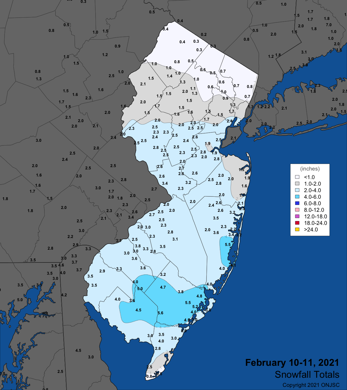 Snowfall map from the February 10th-11th winter storm