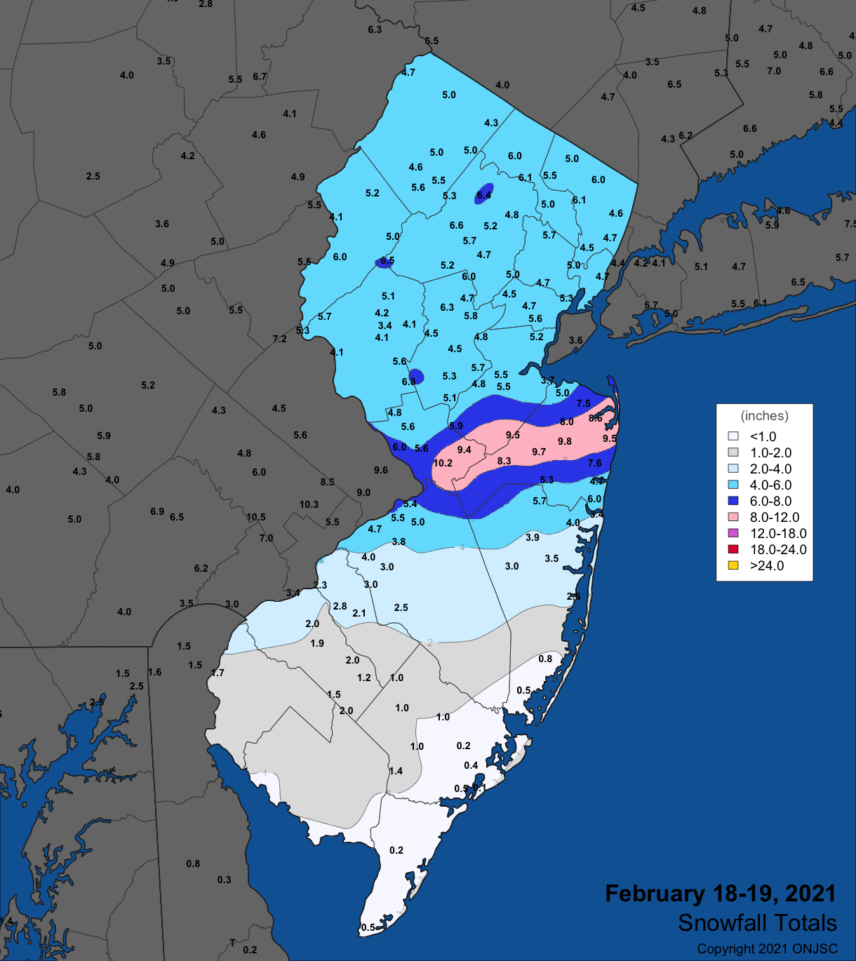 Snowfall map from the February 18th-19th winter storm