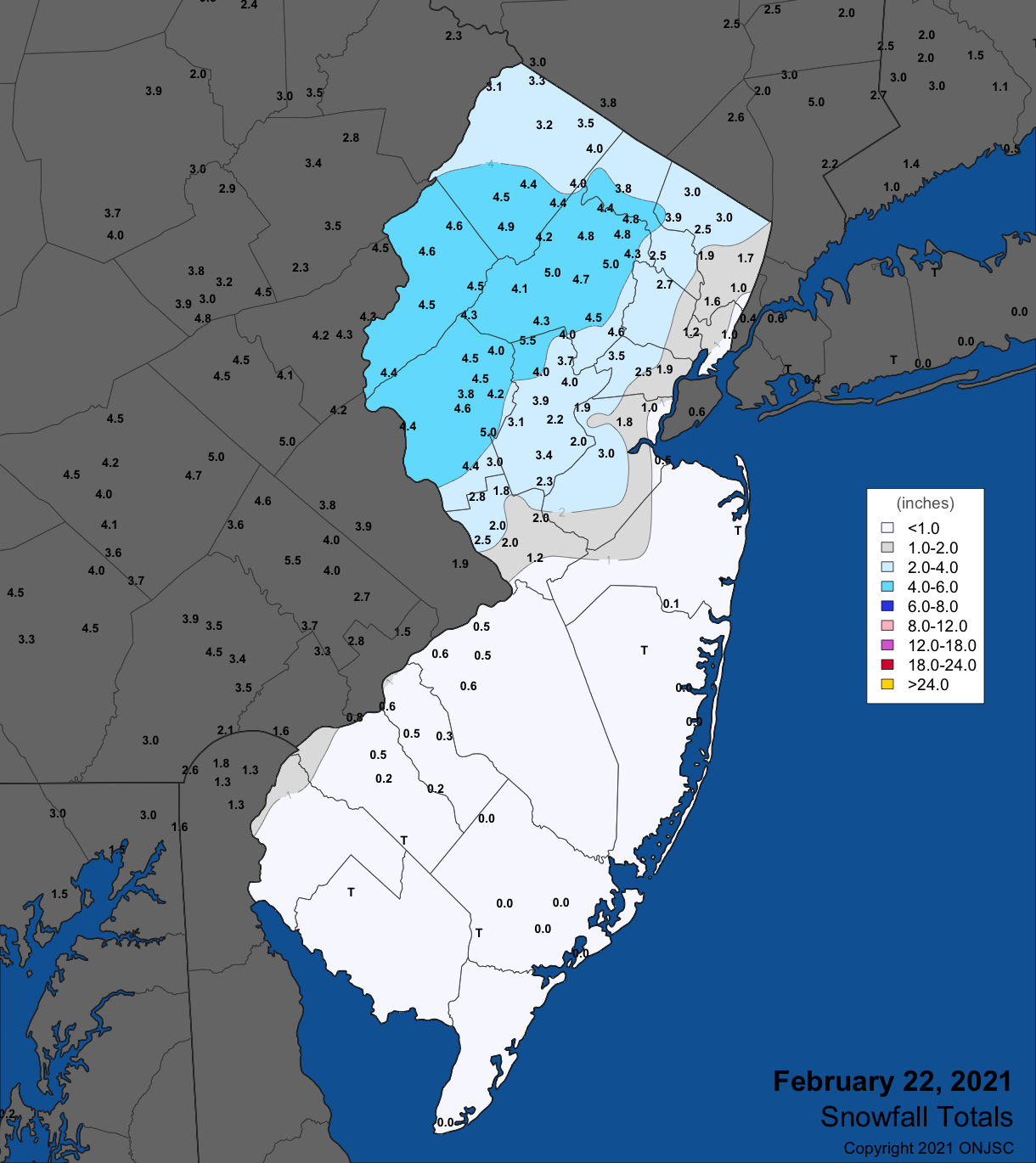 Snowfall map from the February 22nd winter storm