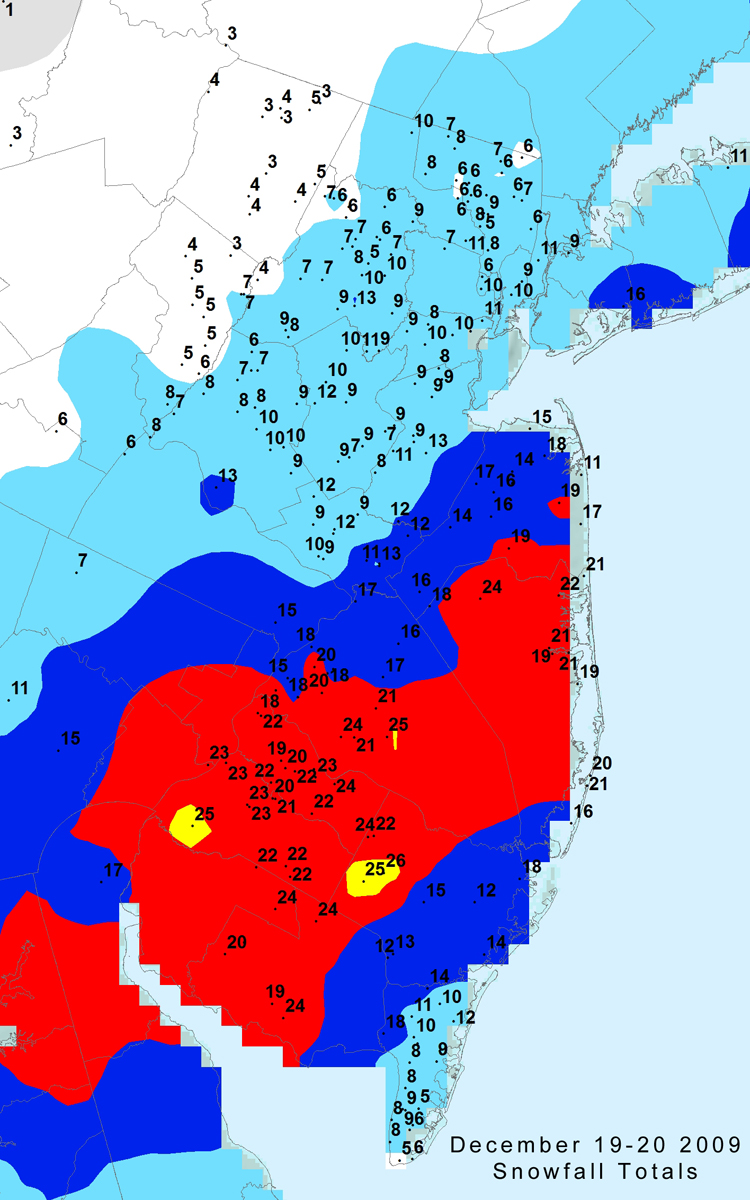 Office Of The New Jersey State Climatologist - Us snowfall map 2009